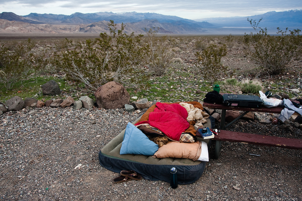 A camper sleeps in Death Valley National Park.