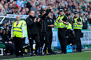Hibernian manager Neil Lennon applauds Hibernian's first goal (109( scored by Jamie Maclaren (#19) of Hibernian during the Ladbrokes Scottish Premiership match between Hibernian and Celtic at Easter Road, Edinburgh, Scotland on 21 April 2018. Picture by Craig Doyle.