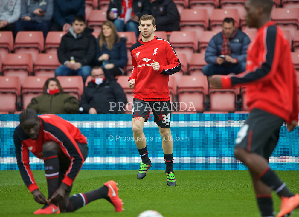 SOUTHAMPTON, ENGLAND - Sunday, March 20, 2016: Liverpool's new captain Jon Flanagan warms-up before the FA Premier League match against Southampton at St Mary's Stadium. (Pic by David Rawcliffe/Propaganda)