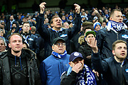 FC Schalke 04 fans are not happy and make their feelings known to the team during the Champions League round of 16, leg 2 of 2 match between Manchester City and FC Schalke 04 at the Etihad Stadium, Manchester, England on 12 March 2019.