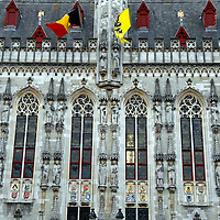 Europe, Belgium, Brugges. The City Hall on Burg Square.