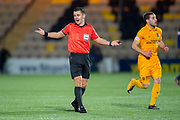 Referee Nick Walsh during the Ladbrokes Scottish Premiership match between Livingston FC and Heart of Midlothian FC at the Tony Macaroni Arena, Livingston, Scotland on 14 December 2018.