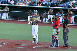 29 July 2016: Aaron Dudley during a Frontier League Baseball game between the Lake Erie Crushers and the Normal CornBelters at Corn Crib Stadium on the campus of Heartland Community College in Normal Illinois