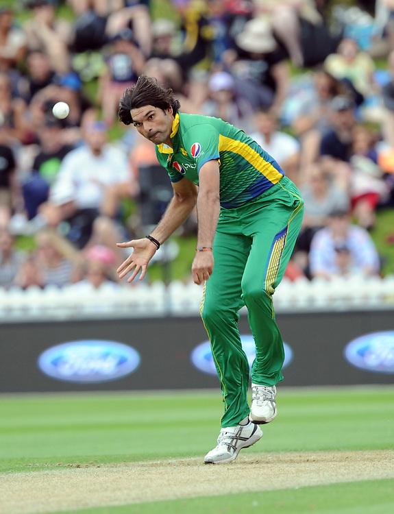 Pakistan's Mohammad Irfan bowling against New Zealand in the 1st ODI International Cricket match at Basin Reserve, Wellington, New Zealand, Monday, January 25, 2016. Credit:SNPA / Ross Setford