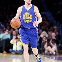 11 April 2014: Golden State Warriors guard Steve Blake (25) brings the ball up court during the Golden State Warriors 112-95 victory over the Los Angeles Lakers at the Staples Center, Los Angeles, California, USA.