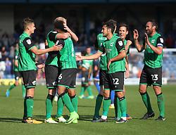 Scunthorpe United players celebrate after the final whistle - Mandatory by-line: Jack Phillips/JMP - 02/09/2017 - FOOTBALL - Gigg Lane - Bury, England - Bury v Scunthorpe United - English Football League One
