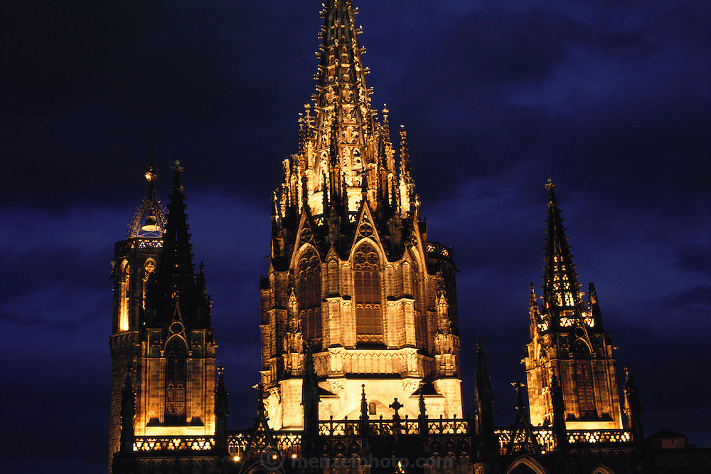 The Gothic Cathedral (built 13th to 15th Century) at dusk in Barcelona, Spain.