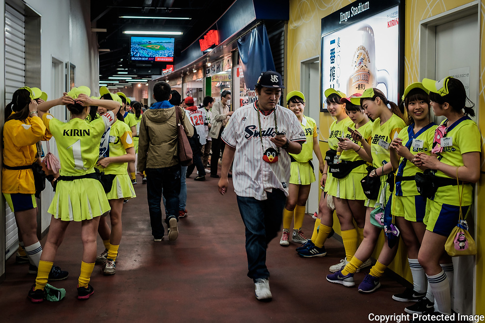 Kirin beer girls wait the beginning of their service at the Jingu Stadium before the start of the match Tokyo Yakult Swallows vs. Hiroshima Carp on April 21st, Tokyo. 21/04/2017-Tokyo, JAPAN