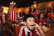 Paraguay v Japan at Nueva Costa Darada, Hanway Street W1.<br /> <br /> <br /> Copyright: Jonathan GoldbergWorld Cup 2010 watched  on London TV<br /> Paraguay v Japan, Costa Dorada, Hanway Street, Soho