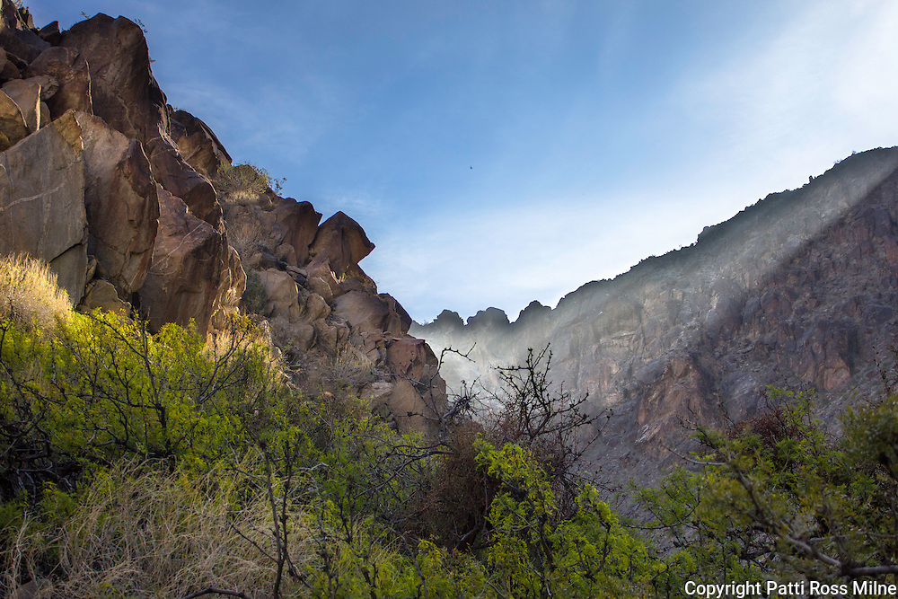Tahquitz Canyon, sometimes referred to as Indian Canyon, is another beautiful area within the boundaries of the city of Palm Springs. Centuries ago, ancestors of the Agua Caliente Cahuilla Indians settled in the Palm Springs area. They thrived and today the remains of that society can been seen in this striking canyon.