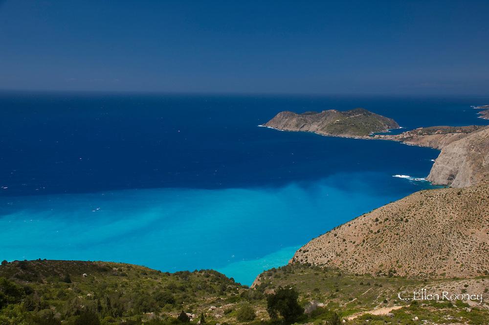 A view along the coast of Kefalonia looking toward Asos.  Kefalonia, the Ionian Islands, Greece