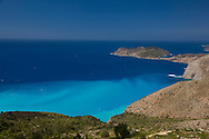 A view along the coast of Kefalonia looking toward Asos.  Kefalonia, the Ionian Islands, Greece