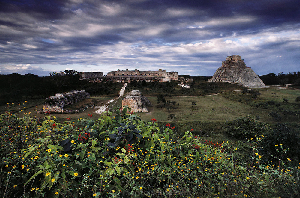 """Ruins of the Mayan city of Uxmal, meaning """"thrice-built."""" Yucatan, Mexico."""