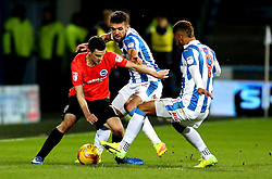 Jamie Murphy of Brighton & Hove Albion takes on Tommy Smith and Elias Kachunga of Huddersfield Town - Mandatory by-line: Robbie Stephenson/JMP - 02/02/2017 - FOOTBALL - John Smith's Stadium - Huddersfield, England - Huddersfield Town v Brighton and Hove Albion - Sky Bet Championship