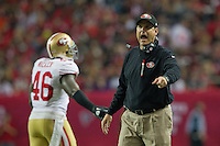 20 January 2013: Head coach Jim Harbaugh of the San Francisco 49ers coaches against the Atlanta Falcons during the 49ers 28-24 victory over the Falcons in the NFC Championship Game at the Georgia Dome in Atlanta, GA.