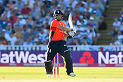 Jonny Bairstow of England plays and attacking shot during the International T20 match between England and Australia at Edgbaston, Birmingham, United Kingdom on 27 June 2018. Picture by Graham Hunt.