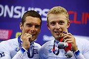 Podium, Men Madison, Robbie Ghys and Kenny De Ketele (Belgium) gold medal, during the Track Cycling European Championships Glasgow 2018, at Sir Chris Hoy Velodrome, in Glasgow, Great Britain, Day 5, on August 6, 2018 - Photo luca Bettini / BettiniPhoto / ProSportsImages / DPPI<br /> - Restriction / Netherlands out, Belgium out, Spain out, Italy out -
