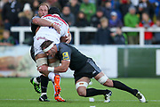 Newcastle Falcons Hooker Kyle Cooper (2) tackles Leicester Tigers Number 8 Sione Kalamafoni (8)  during the Aviva Premiership match between Newcastle Falcons and Leicester Tigers at Kingston Park, Newcastle, United Kingdom on 29 October 2017. Photo by Simon Davies.