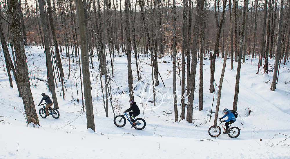"Highlands 50 year history has seen skiers going downhill in years past to current day fat bike riders going uphill on Saturday as they head out on the groomed trails during the 50 year ""then and now"" anniversary celebration.   (Karen Bobotas/for the Laconia Daily Sun)"