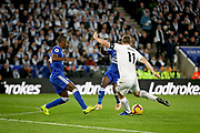 Leicester City midfielder Marc Albrighton (11) gets in a shot during the Premier League match between Leicester City and Burnley at the King Power Stadium, Leicester, England on 10 November 2018.