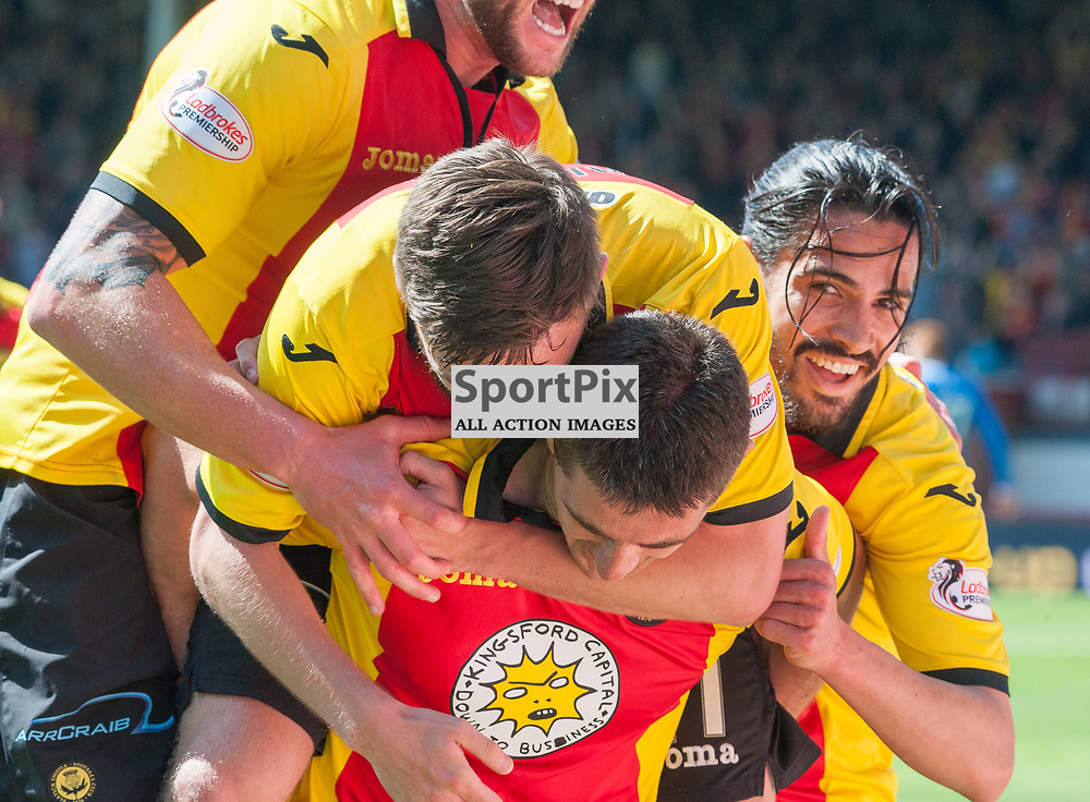 Partick Thistle celebrations for #9 Kris Doolan's diving header - Partick Thistle v Rangers - Ladbrokes Premiership - 07 May 2017 - © Russel Hutcheson | SportPix.org.uk