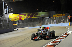 24.09.2011, Marina-Bay-Street-Circuit, Singapur, SIN, F1, Grosser Preis von Singapur, Singapur, im Bild DHL Branding - Jenson Button (GBR),  McLaren F1 Team  // during the Formula One Championships 2011 Large price of Singapore held at the Marina-Bay-Street-Circuit Singapur, 2011-09-24  EXPA Pictures © 2011, PhotoCredit: EXPA/ nph/  Dieter Mathis       ****** out of GER / CRO  / BEL ******