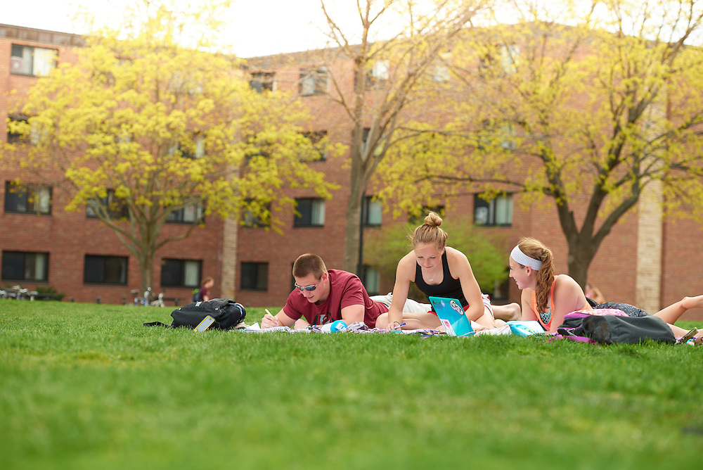 Activity; Studying; Buildings; Dorm; Location; Outside; Objects; Books; Computer; People; Woman Women; Student Students; Man Men; Spring; April; Time/Weather; cloudy; Type of Photography; Candid; UWL UW-L UW-La Crosse University of Wisconsin-La Crosse