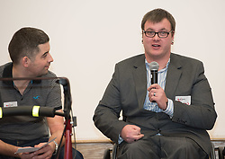 "A short film about the challenges faced by disabled people when trying to access public transport will screen as part of film showings at Edinburgh cinemas during Disabled Access Day this weekend (10-12 March). <br /> The short film has been launched by Edinburgh based charity get2gether, who work with almost 500 disabled adults in Edinburgh and the Lothians by organising social events and encouraging members to take initiative. <br /> The film, ""Buggy Off"", was created by get2gether Member and Ambassador Karen Sutherland with the support of Media Education and is based on one of Karen's many personal experiences. The film was launched at the Grassmarket Community Project in Edinburgh on Wednesday 8 March before screening ahead of films at the Cameo and Filmhouse over the weekend. Pictured: Ryan Johnston acting on behalf of his partner and film-maker Karen Sutherland (Karen was rushed into hospital the night before the screening)<br /> <br /> <br /> © Jon Davey/ EEm"