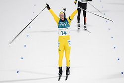 February 12, 2018 - Pyeongchang, SOUTH KOREA - 180212  Sebastian Samuelsson of Sweden, Silver,  celebrates after the Men's Biathlon 12,5km Pursuit during day three of the 2018 Winter Olympics on February 12, 2018 in Pyeongchang..Photo: Jon Olav Nesvold / BILDBYRÃ…N / kod JE / 160157 (Credit Image: © Jon Olav Nesvold/Bildbyran via ZUMA Press)