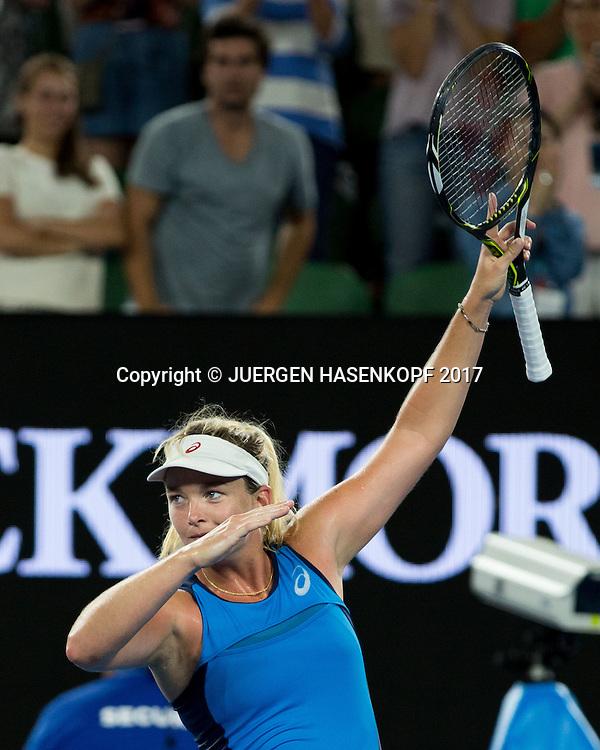 COCO VANDEWEGHE (USA) feiert ihren Sieg,Freude,Emotion,<br /> <br /> Australian Open 2017 -  Melbourne  Park - Melbourne - Victoria - Australia  - 23/01/2017.