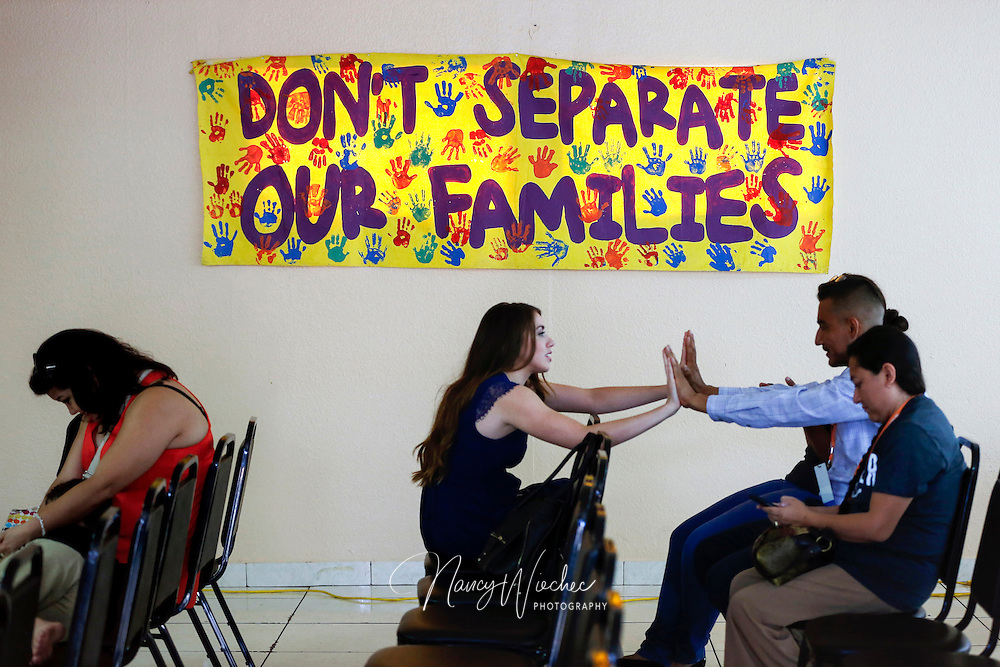 People gather at Puente Human Rights Movement center to hear Democratic presidential candidate Martin O'Malley, former governor of Maryland, during an event with Arizona immigrants and their supporters in Phoenix July 18, 2015. (CNS photo/Nancy Wiechec)