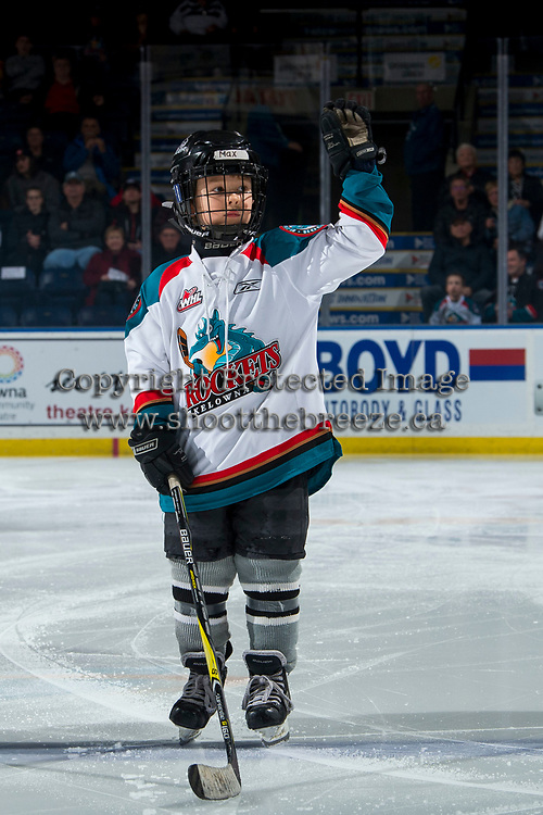 KELOWNA, CANADA - MARCH 13: Maximus Fogharty is the pepsi player of the game at the Kelowna Rockets against the Spokane Chiefs  on March 13, 2019 at Prospera Place in Kelowna, British Columbia, Canada.  (Photo by Marissa Baecker/Shoot the Breeze)