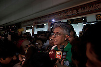 Doctor Faisal Sultan, head of the Shaukat Khanum Memorial Cancer Hospital and Research Centre, briefs media on the condition of Imran Khan, chairman of the Pakistan Tehreek-e-Insaf political party, who was injured falling from a forklift truck while arriving on stage at a campaign rally in Lahore, Pakistan, Tuesday, May 7, 2013. Pakistan is due to hold a general election on May 11, the first transition of power between democratically elected governments.