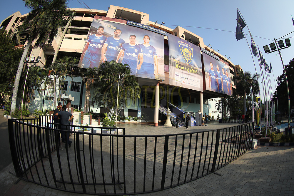 Branding of Chennai stadium during match 41 of the Hero Indian Super League between Chennaiyin FC and Delhi Dynamos FC   held at the Jawaharlal Nehru Stadium, Chennai India on the 7th January 2018<br /> <br /> Photo by: Arjun Singh  / ISL / SPORTZPICS
