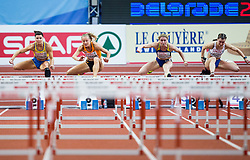 Susanna Kallur of Sweden, Sharona Bakker of Netherlands, Olena Yanovska of Ukraine compete in the Women's 60 metres Hurdles heats on day one of the 2017 European Athletics Indoor Championships at the Kombank Arena on March 3, 2017 in Belgrade, Serbia. Photo by Vid Ponikvar / Sportida