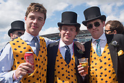 STAG PARTY FOR PETER, IN CENTRE WITH 2 BBEST MEN, Investec Derby, Epsom. June 2 2018