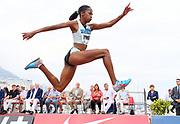 Liadagmis Povea (CUB) places second in the women's triple jump at 48-3 1/4(14.71m) during the women's triple jump in the  Herculis Monaco in an IAAF Diamond League meet , Thursday, July 11, 2019, in Port Hercules, Monaco.(Jiro Mochizuki/Image of Sport)