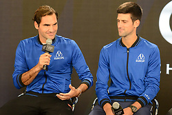 September 20, 2018 - Chicago, Illinois, United States - ROGER FEDERER and NOVAK DJOKOVIC of the Europe Team speak with the media prior to the start of the 2018 Laver Cup tennis event in Chicago. (Credit Image: © Christopher Levy/ZUMA Wire)