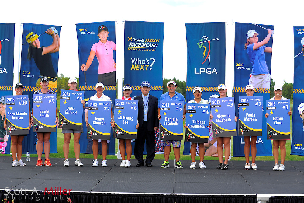 LPGA Card winners with her card following the final round of the Daytona Beach Invitational  at LPGA International on Sep 30, 2012 in Daytona Beach, Florida...©2012 Scott A. Miller