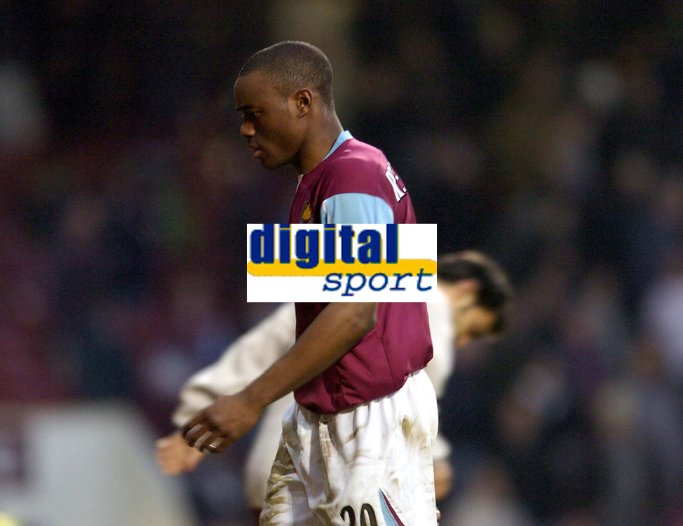 Photo: Olly Greenwood.<br />West Ham United v Watford. The Barclays Premiership. 10/02/2007. West Ham's Nigel Reo-Coker is dejected after the game