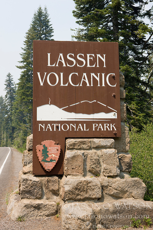 National Park Service welcome sign to Lassen Volcanic National Park, California, USA.