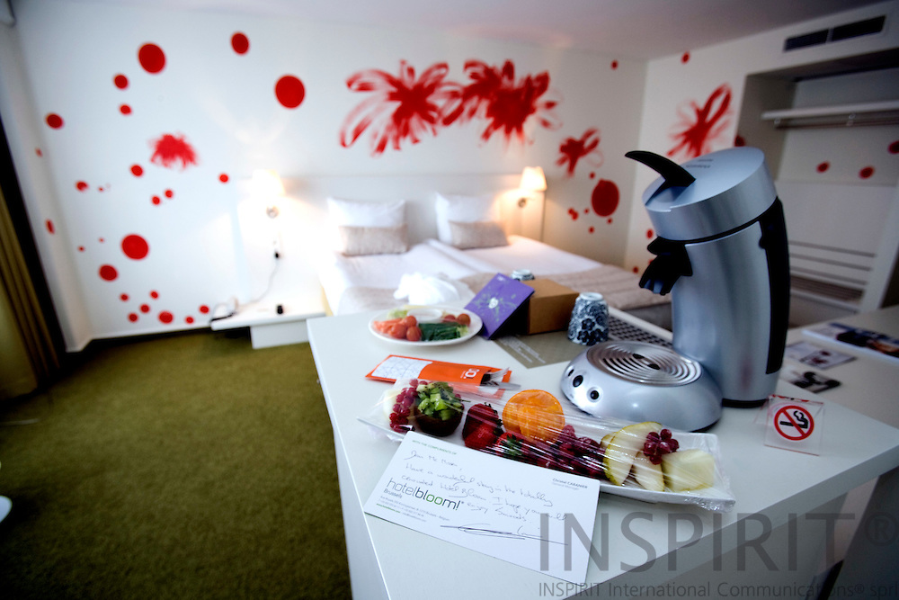 BRUSSELS - BELGIUM - 22 APRIL 2008 -- Hotel BLOOM a new modern hotel in Brussels with 305 rooms all decorated with different art made by artist from ELIA, the European League of the Institutes of the Arts. Here one of the rooms welcoming guests with fresh fruits. Photo: Erik Luntang