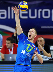 Tine Urnaut #17 during volleyball match between National teams of Poland and Slovenia in Quarterfinals of 2015 CEV Volleyball European Championship - Men, on October 14, 2015 in Arena Armeec, Sofia, Bulgaria. Photo by Ronald Hoogendoorn / Sportida