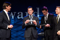 """25 NOV 2009, BERLIN/GERMANY:<br /> Wolfram Weimer (L), Chefredakteur Cicero, Karl-Theodor zu Guttenberg (M), CSU, Bundesverteidigungsminister, und Matthias Mehlen (R), Director Corporate Affairs / Unternehmenssprecher Mc Donlads Deutschland, Verleihung des Politikaward 2009 in der Kategorie 7: """"Politiker des Jahres"""" , Tipi am Kanzleramt<br /> IMAGE: 20091125-03-172"""