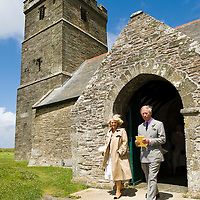 Tintagel, Cornwall, The Duke and Duchess of Cornwall visit the Church of St Materiana in Tintagel (Cornwall) and viewing Tintagel Castle from the South West coast Path