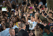 President Obama shakes hands following a rally at Ohio University in Athens, Ohio. Photo by Ben Siegel/ Ohio University