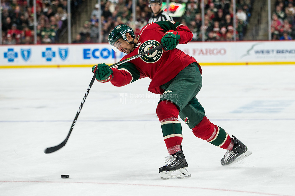 Dec 17, 2016; Saint Paul, MN, USA; Minnesota Wild defenseman Matt Dumba (24) breaks his stick against the Arizona Coyotes at Xcel Energy Center. The Wild defeated the Coyotes 4-1. Mandatory Credit: Brace Hemmelgarn-USA TODAY Sports