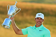 Brooks Koepka holds the trophy during the final round of the 2017 U.S. Open at Erin Hills in Erin, Wis. on Sunday, June 18, 2017<br /> <br /> <br /> &copy; Mark Newcombe / visionsingolf.com