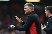 AFC Bournemouth manager Eddie Howe urging his players on during the Premier League match between Bournemouth and Crystal Palace at the Vitality Stadium, Bournemouth, England on 7 April 2018. Picture by Graham Hunt.