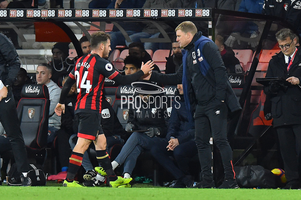 AFC Bournemouth manager Eddie Howe shakes hands with Ryan Fraser (24) of AFC Bournemouth as he comes off after being substituted during the Premier League match between Bournemouth and Watford at the Vitality Stadium, Bournemouth, England on 2 January 2019.